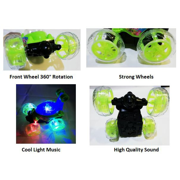 Pony Rechargeable Rolling Stunt Car 360 Degree Spinning Flips Color Flash Music