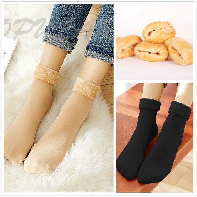 1Pair Women Home Floor Plus Thick Velvet Socks Warm Nude//Black Socks Winter NEW