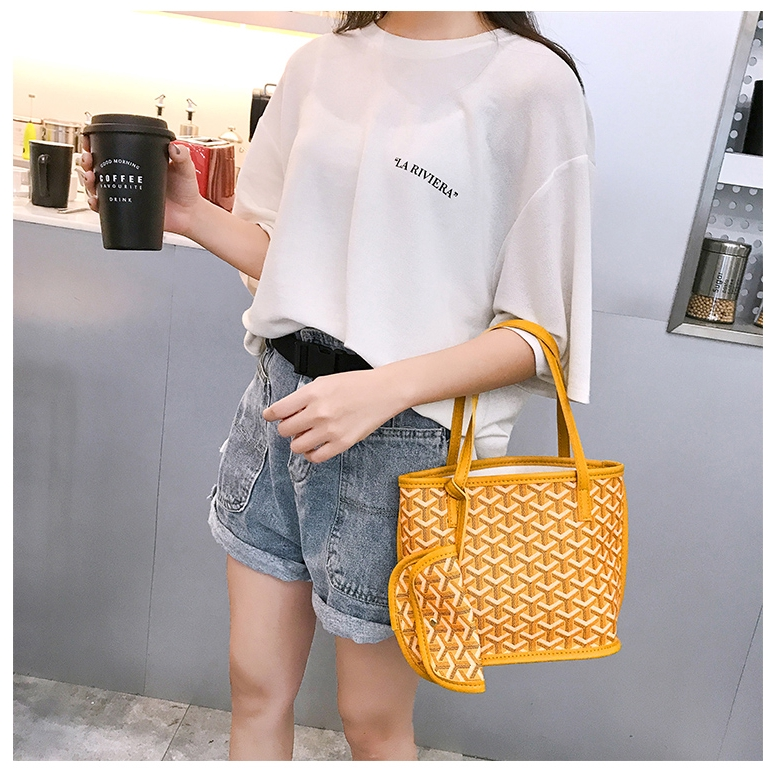 IN STOCK Cute Double-Sided Mini Mother Bag Women's Tote Bag Trendy Simple Contrast Colour Korean Adjustable Casual
