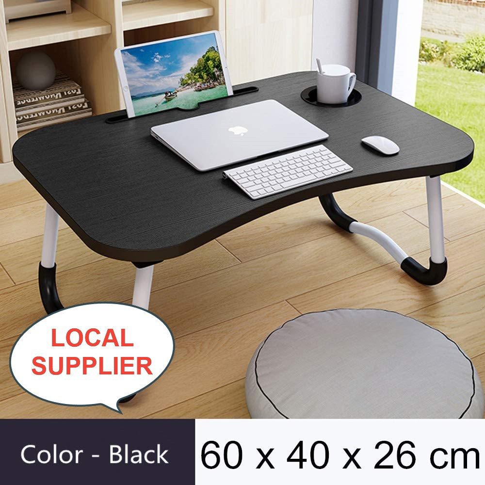 Fordable Laptop Tray Bed Table Lap Table for Breakfast Serving, Notebook Table with Tablet Slots for Couch Floor Adult S