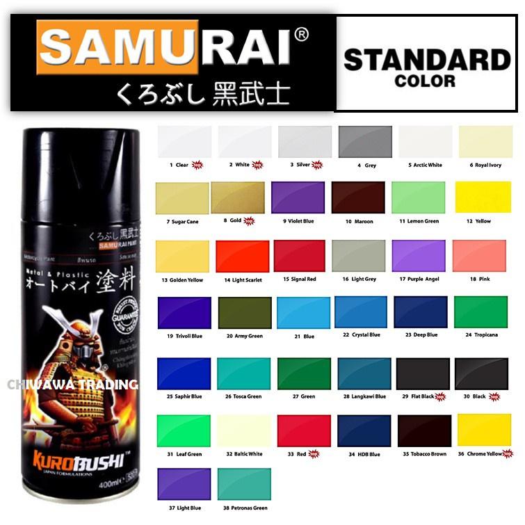 Samurai 400mL Standard Colours Clear Coat Tone Aerosol Spray Paint Motor Cat Primer 1