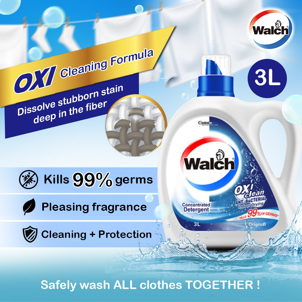 2x Walch Oxi liquid Laundry Detergent Original 3L & MultiPurpose Disinfectant 1L