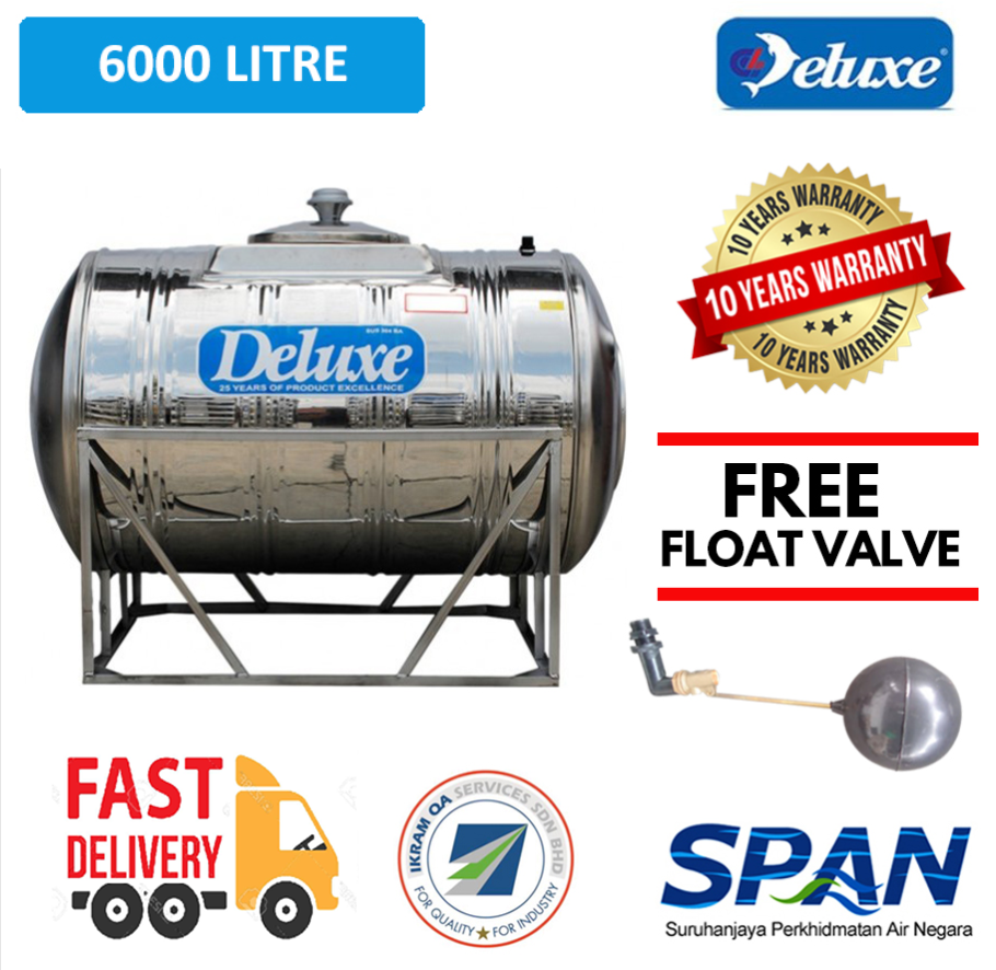 Deluxe Stainless Steel Water Tank Horizontal With Stand (6000-10000 LITRES) Tangki Air Warranty Up To 10 Years