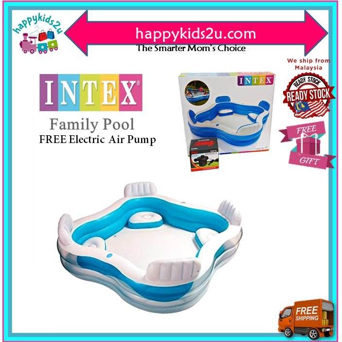 Kolam Renang Keluarga PERCUMA Pump by INTEX Backrest Family Home Swimming Pool FREE Pump