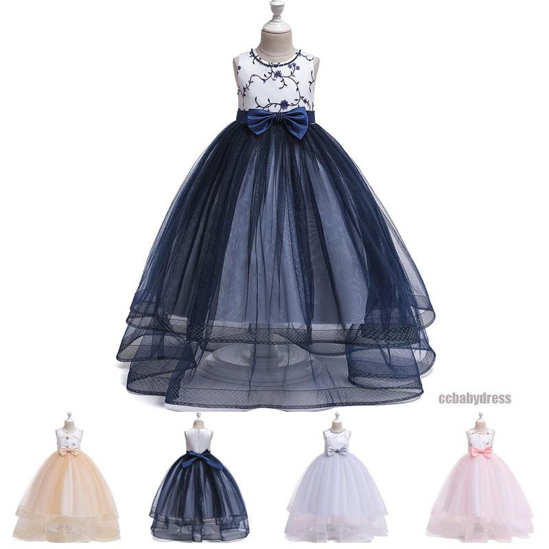 2a9522c75d long dress kids girls gown flower girl wedding party birthday mesh tulle  dresses