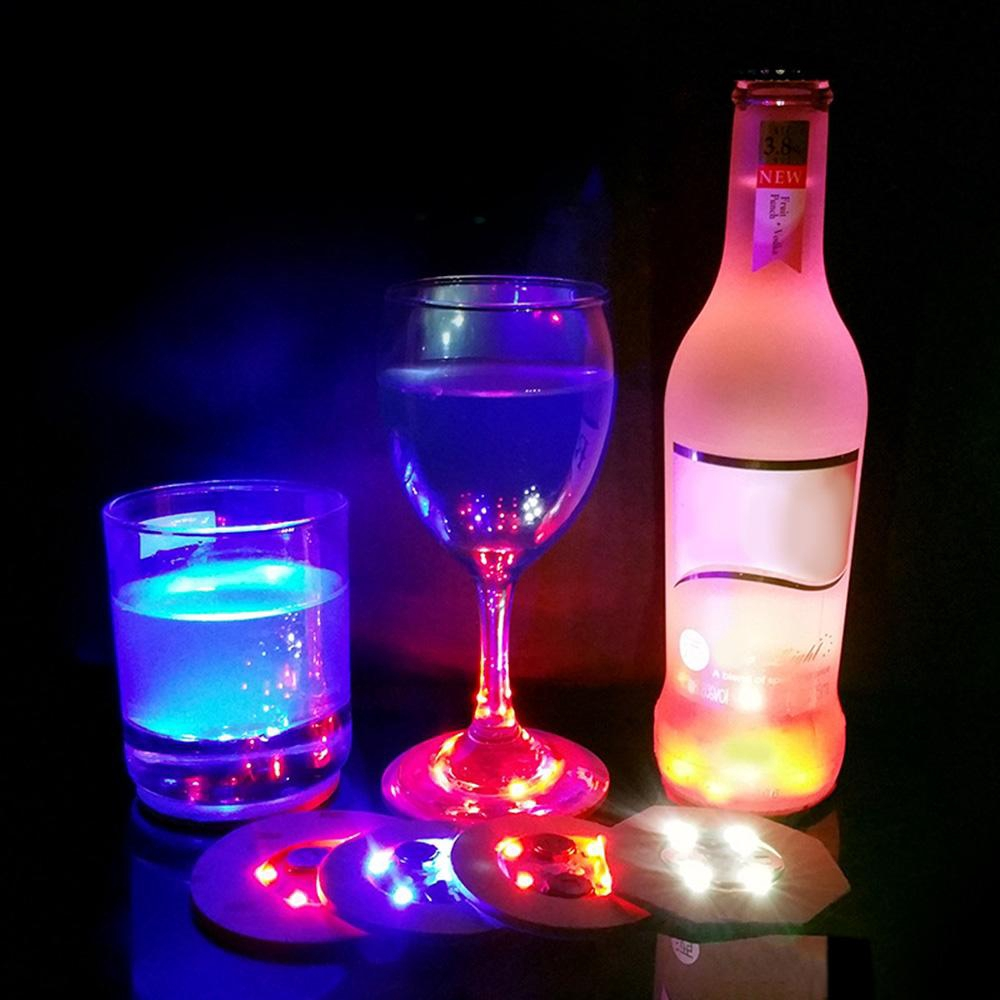 Color Changing LED Lights Bottle Cup Mat Coaster For Clubs Bars Party Fun