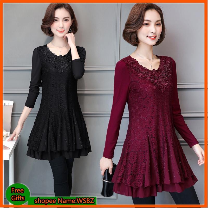 Plus Size Women Lace Dress Long Sleeve Loose Casual Office Wear Black Blouse