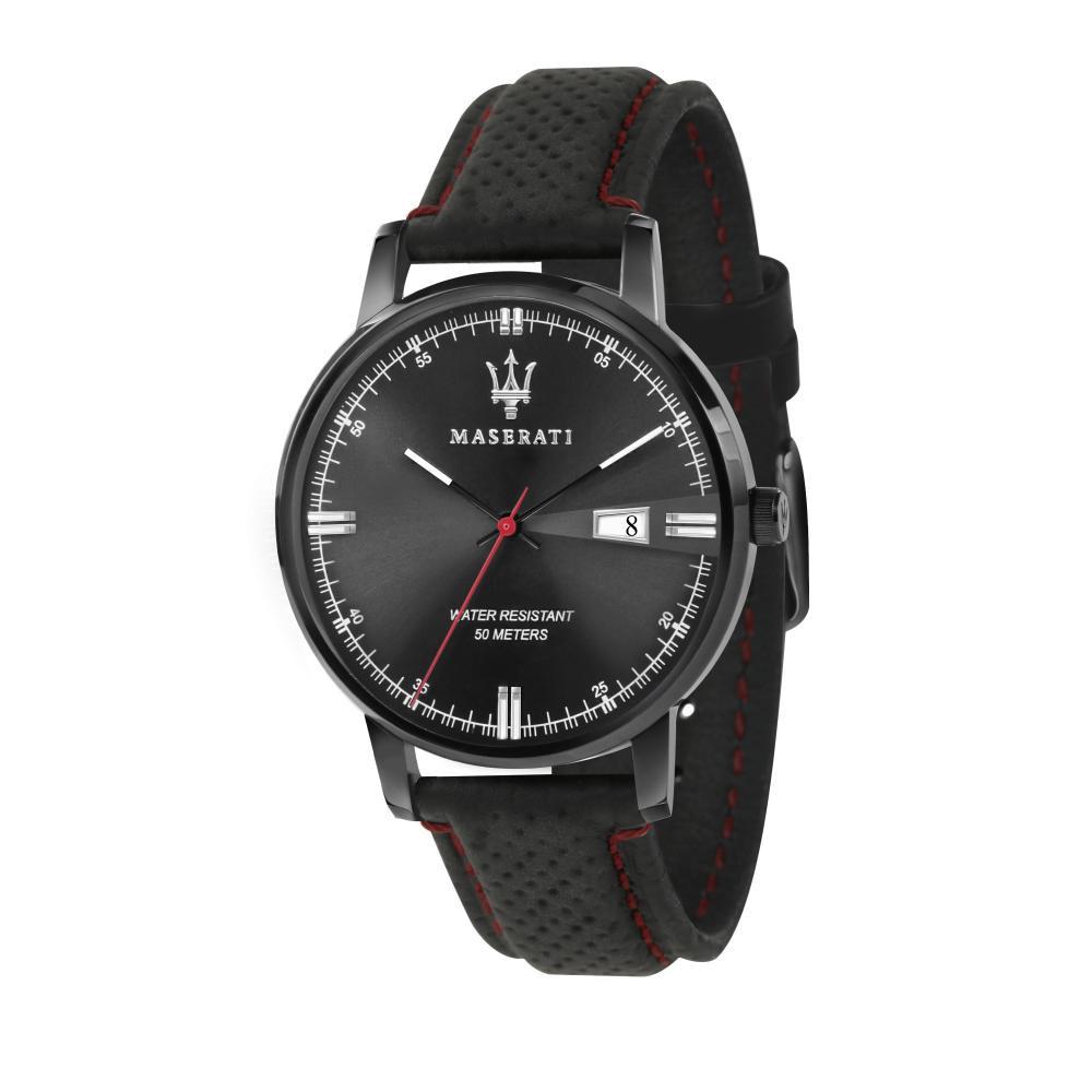 Maserati Eleganza Black Leather Quartz Watches R8851130001