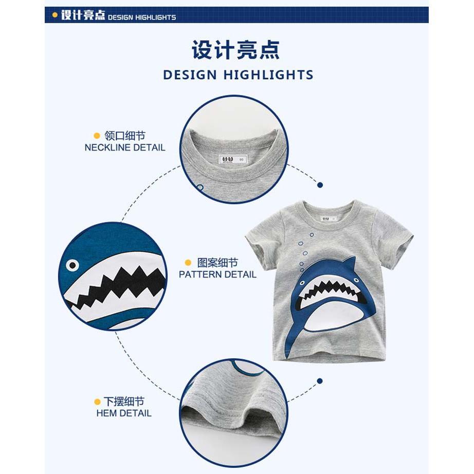 *NEW DESIGN* [FREE GIFT] EVON PREMIUM KIDS BOY COMFY COTTON SHARK DESIGN TSHIRTS PRINTED SHIRT SHORT SLEEVE CHILDREN