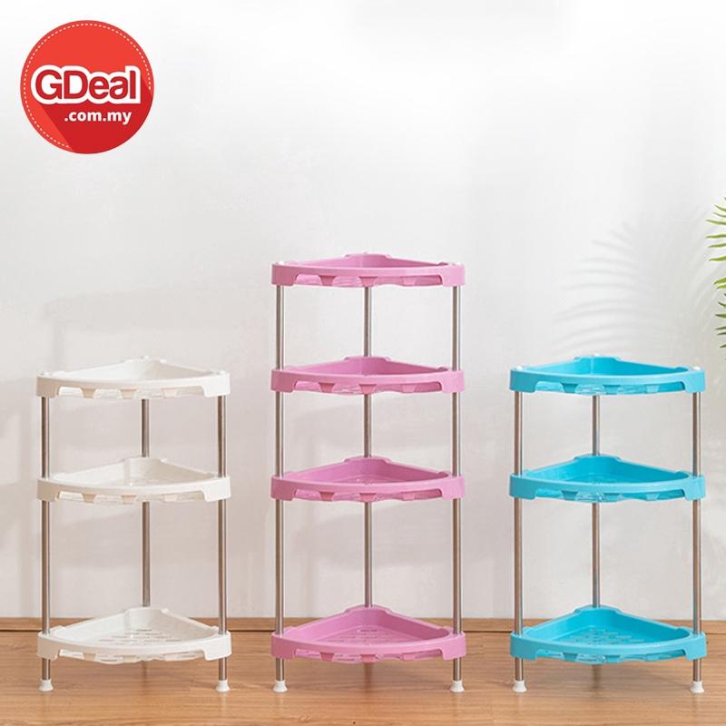 GDeal Adjustable 4 Layer Kitchen Triangle Plastic Storage Floor Rack Shelves Bathroom Organizer