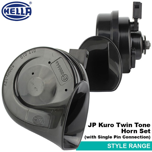 [FREE Gift] ORIGINAL HELLA JP Kuro Black Twin Tone 12V Style Range Car Vehicle Horn Set for All Toyota Cars Only