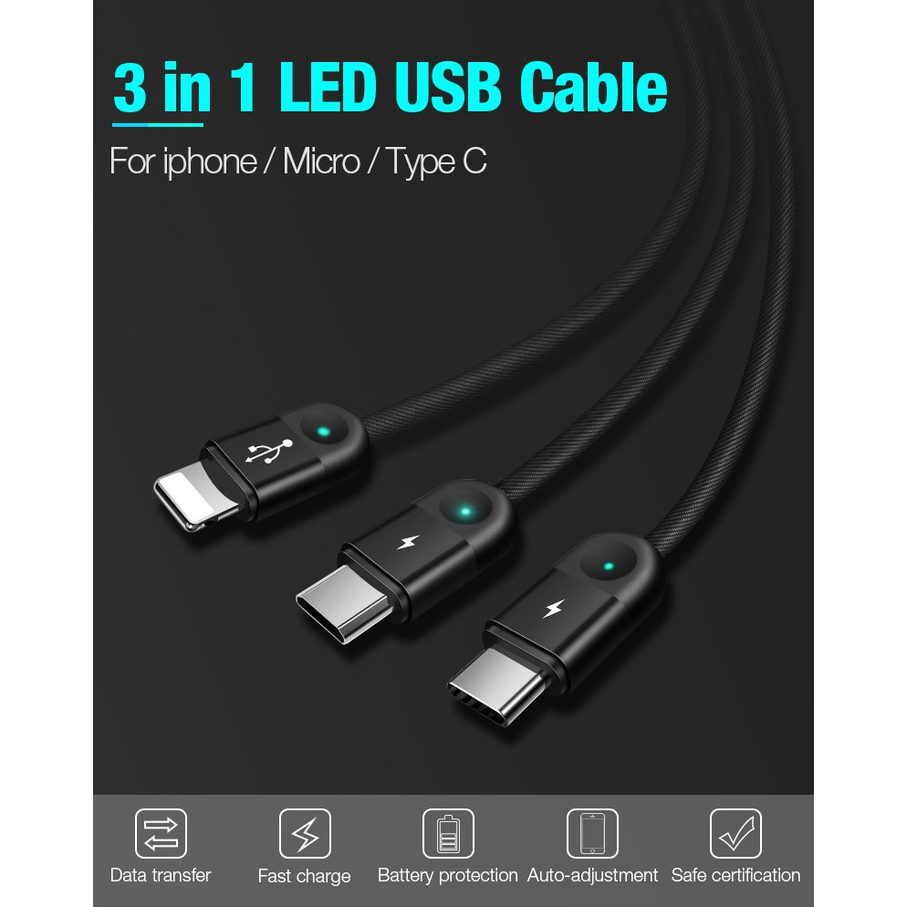 🚛Ready stock LOCAL📦 3 in 1 Micro USB Type-C 8 Pin Handphone Charging Cable