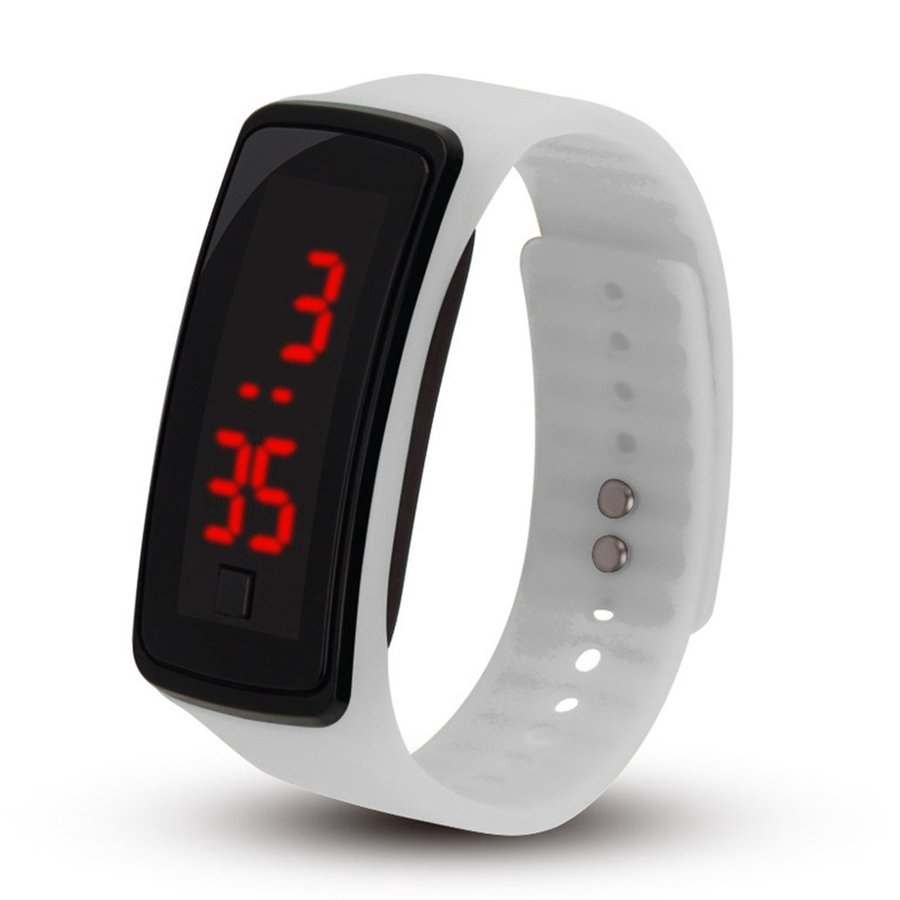 【 Elc 】LED Outdoor Sports Soft Silicone Watchband Electronic Wrist Watch for Women