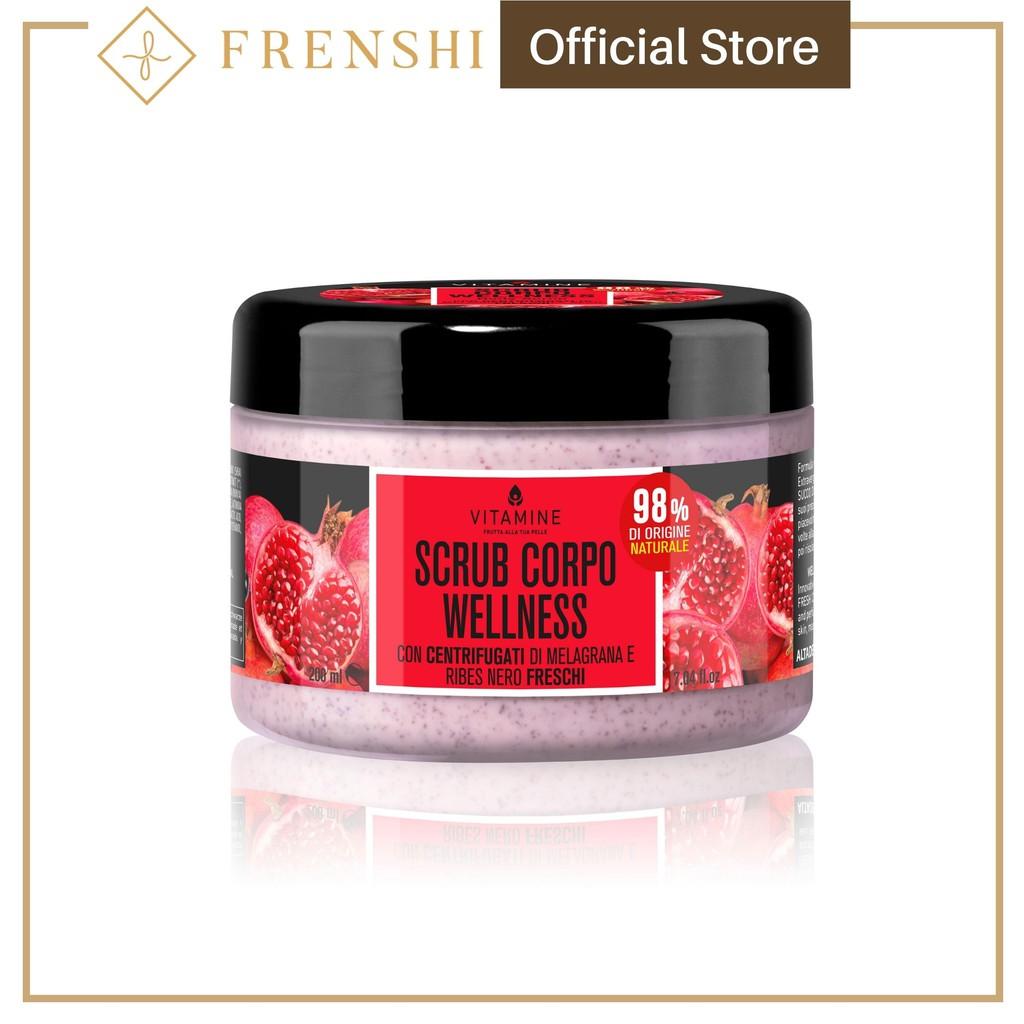 FRENSHI L'ERBORISTICA - WELLNESS BODY SCRUB POMEGRANATE AND BLACK CURRANT with Fresh Centrifuged Fruit Juice 200 ml