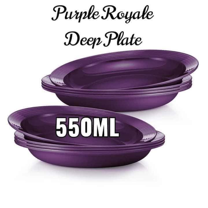 Tupperware Brands ROYAL PURPLE RAYA EDITION/Royale Deep Plate 550ml / Bowl 600ml/Royale Treat Plate