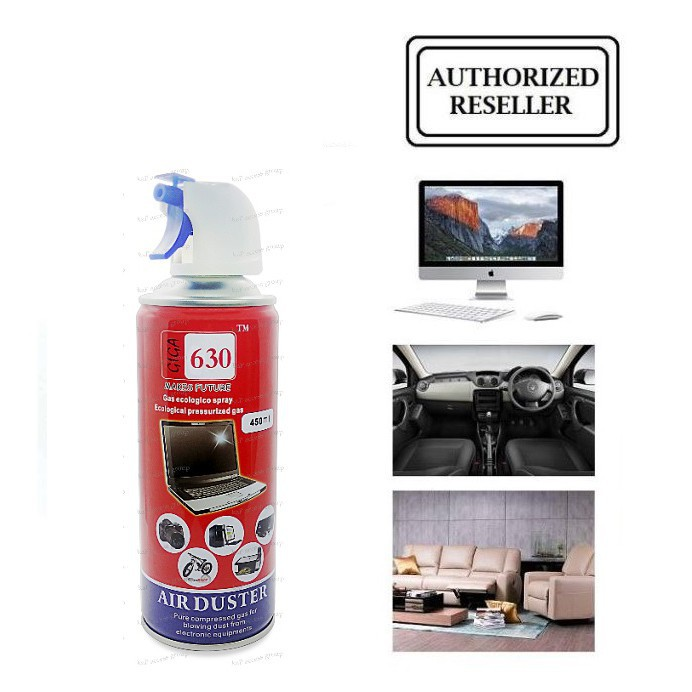 GIGA 630 AIR DUSTER CLEANING COMPRESSED AIR DUSTER CANNED WITH NOZZLE 450ML - FOR ELECTRONIC DEVICES