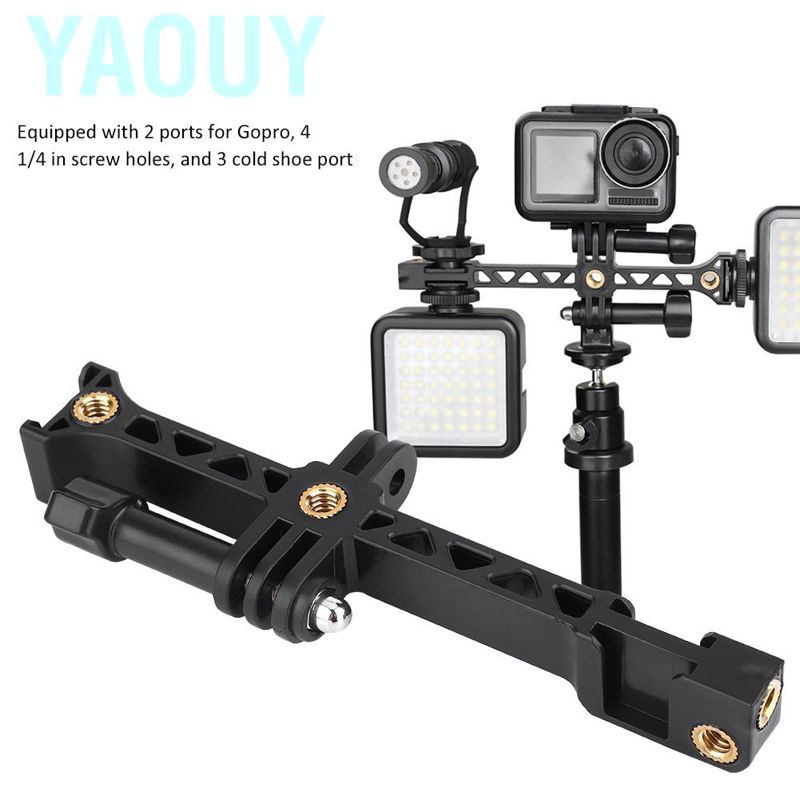 Yaouy ABS Plastic Camera Extension Bracket 1/4 Inch Screw with 3 Cold Shoe Mount