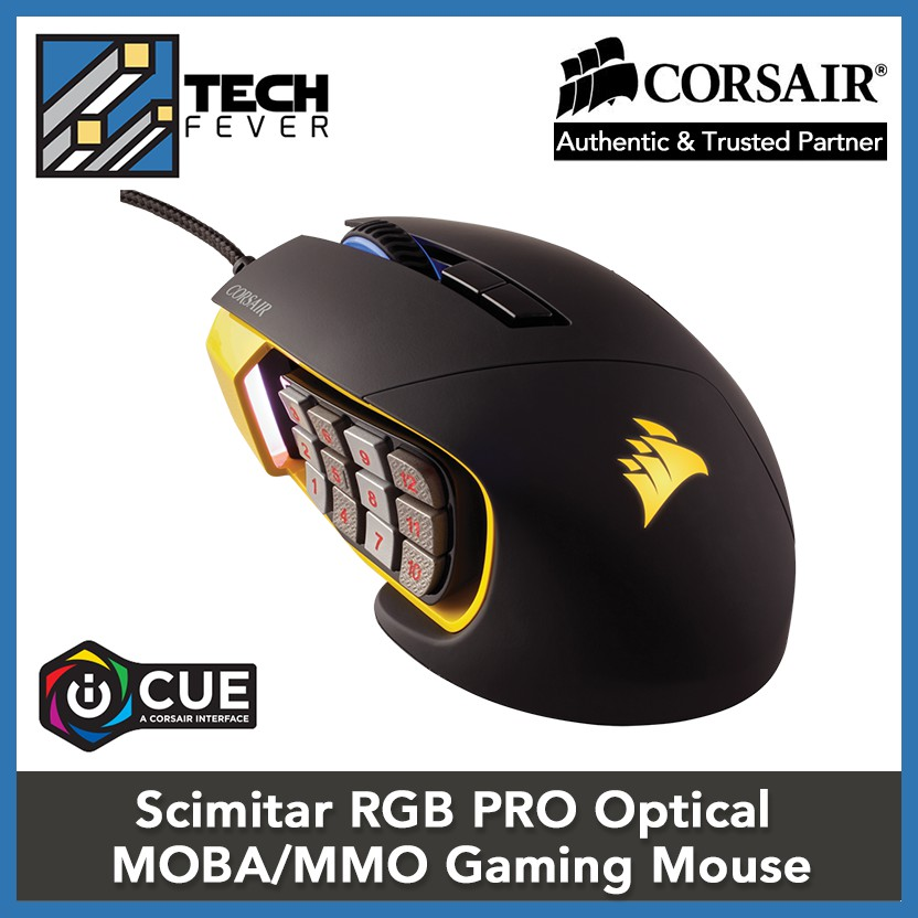 0d8b606bd20 Corsair Scimitar RGB PRO Optical MOBA/MMO Gaming Mouse (Yellow/ Black  Color) | Shopee Malaysia