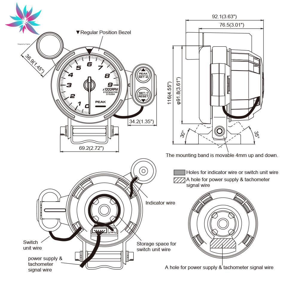 Weiseng 3 75 Inch 80mm Defi Rpm Tachometer Gauge Rpm Gauge Shift Indicator Racing Gauge Shopee Malaysia