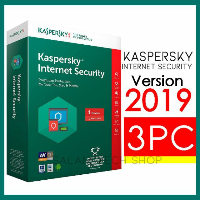 2019 Genuine Kaspersky Internet Security for 3 Windows PC