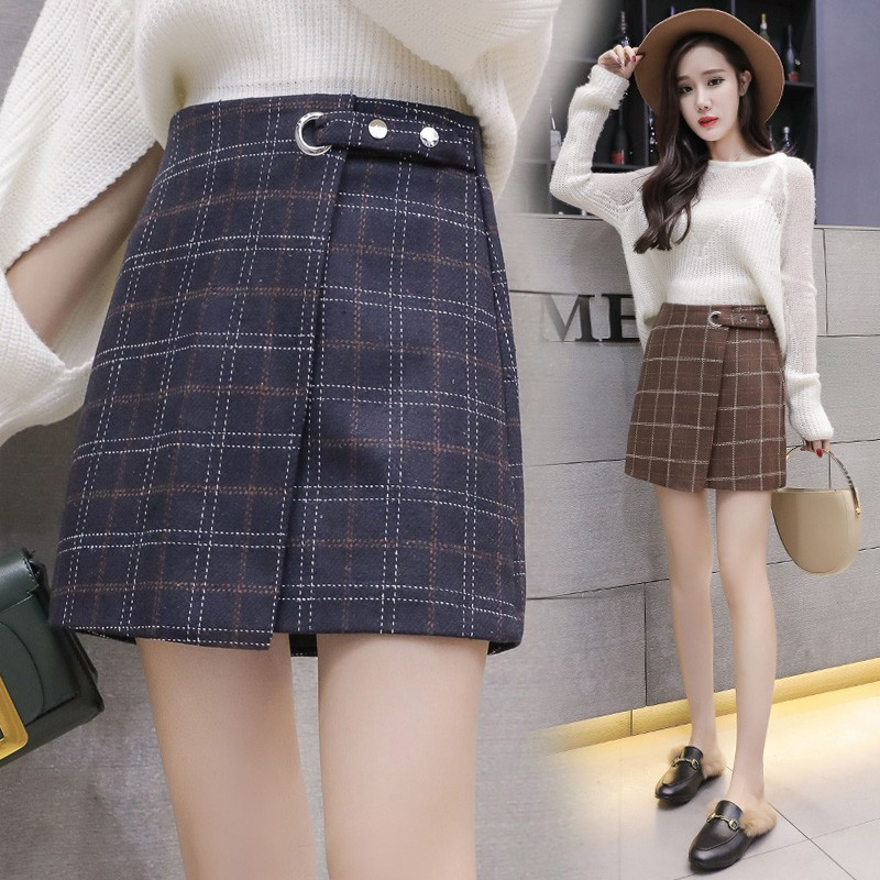 Retro Skirt Thick Woolen Plaid For Women Autumn Winter A-Line Casual Mini-skirt