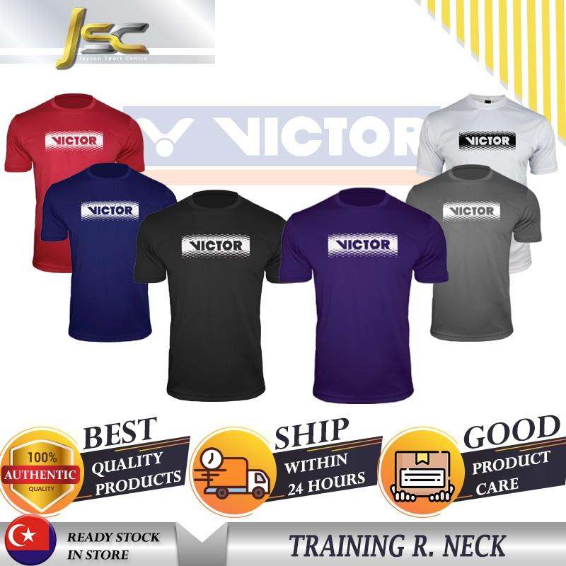 [100%AUTHENTIC] VICTOR Badminton Tshirt 210108(D) Plain Tee Series Jersey  Baju Sukan Polyester Fabric Round Neck