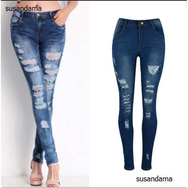 customers first exceptional range of styles and colors sophisticated technologies Women's Slim Denim Skinny Pants Trousers Dark Blue Stretch Cotton Ripped  Jeans