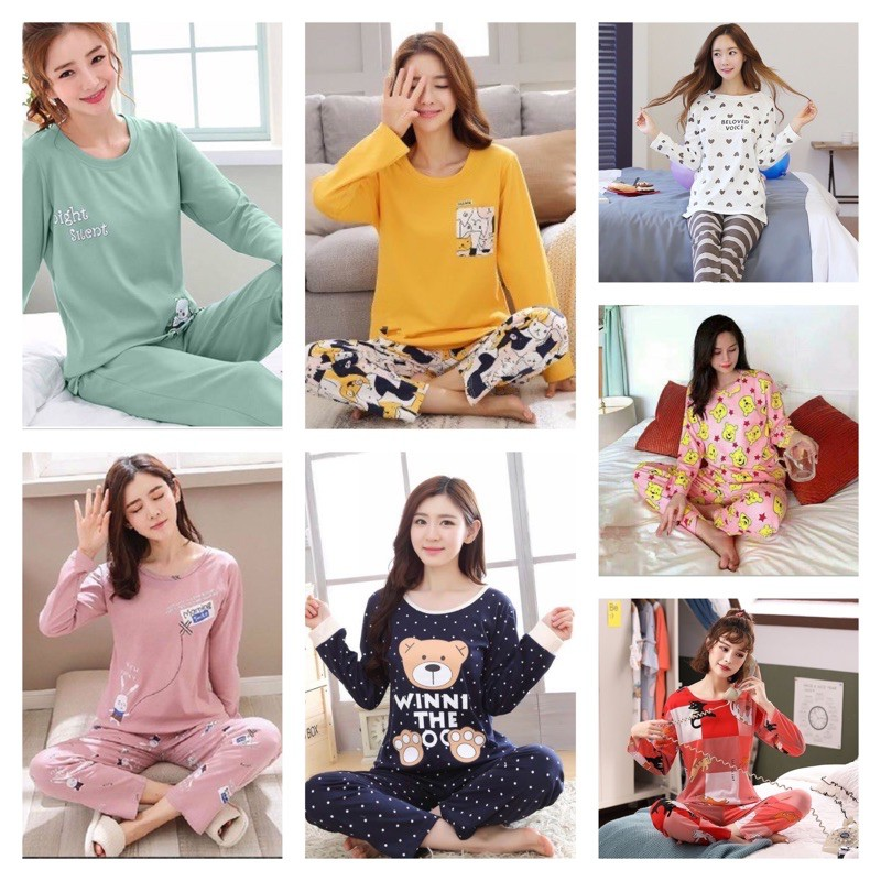 [READY STOCK] WOMEN LONG SLEEVE & LONG TROUSER SLEEPWEAR PYJAMAS WITH PRINTED DESIGN