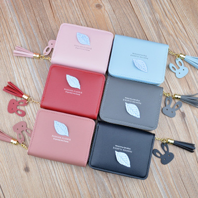 New Small Wallet Ladies Short Zipper Fringed Leaf Small Wallet Ladies Simple Fashion Wallet Small Mini Wallet