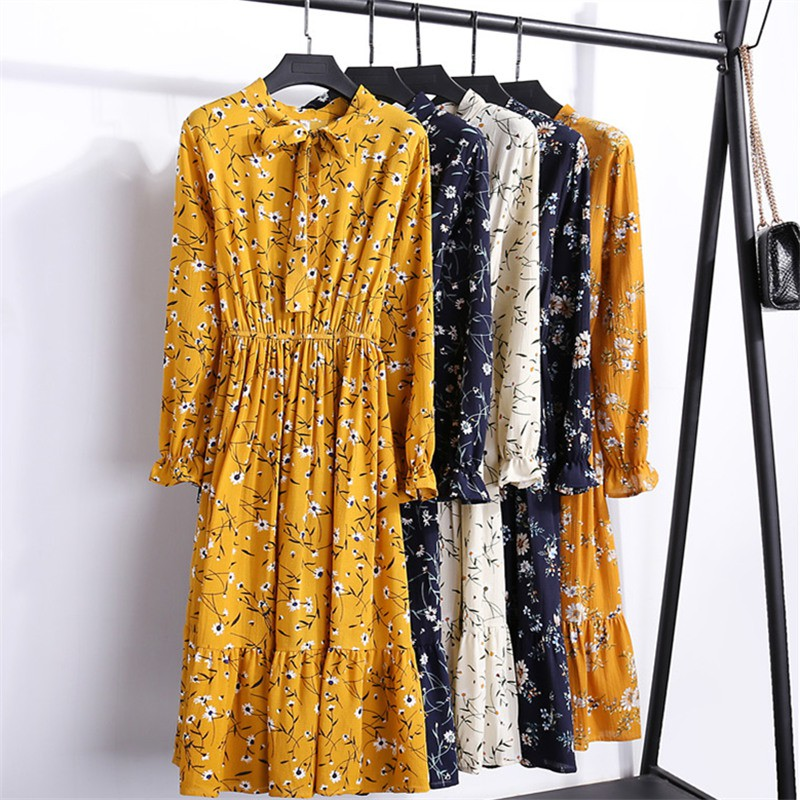 0f839a189f56c ✐Floral chiffon dress with long sleeves female in 2019 during the spring  and autumn decoration show thin body bow rende
