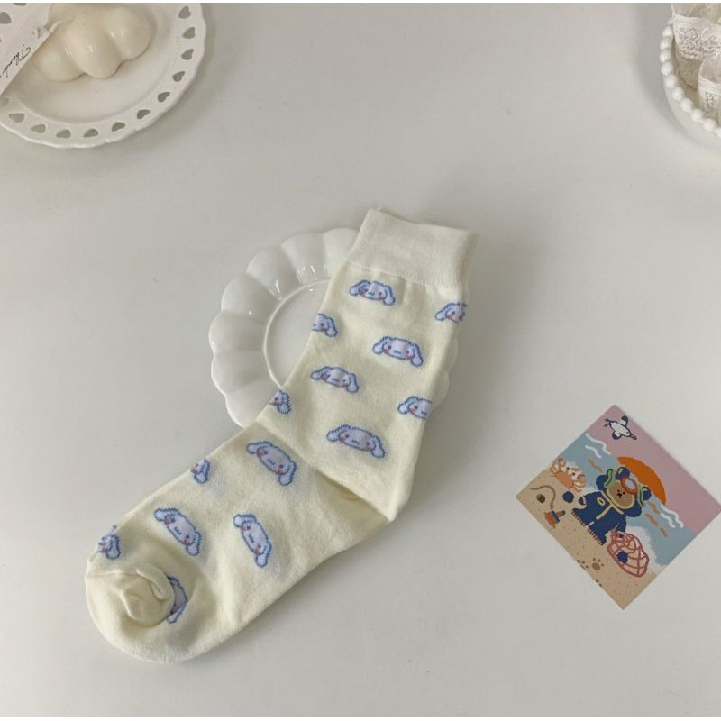 Teenagers bear, sanrio, kitty socks 可爱玉桂狗袜子女秋冬纯棉中筒袜韩国日系卡通美乐蒂学院风长筒袜
