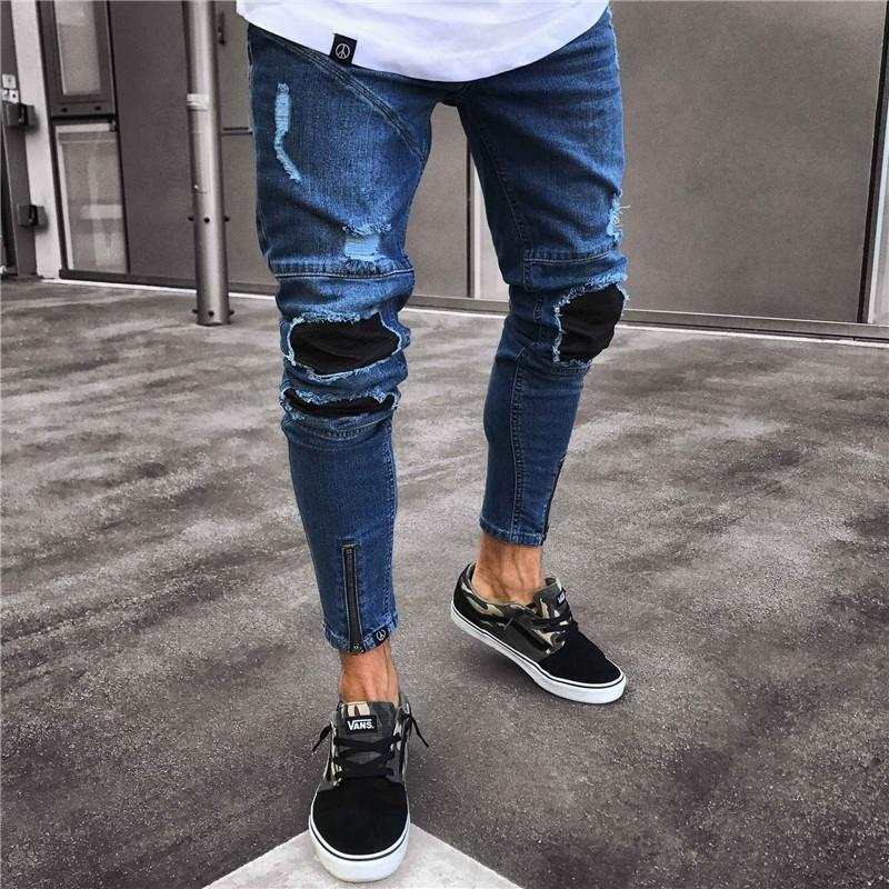 High Street Men's Motorcycle Jeans Knee Pleated Hole Slim Zipper Men