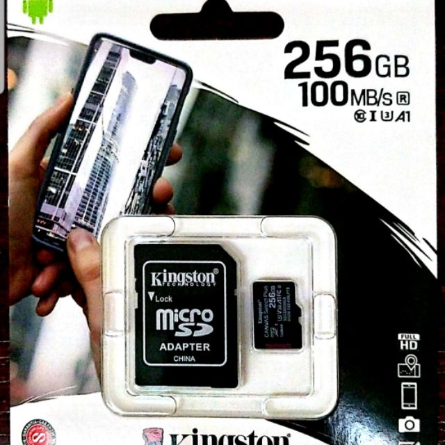 Kingston Digital 256GB microSDXC Class 10 UHS-I 100MB/s Read Card with SD Adapter (ORIGINAL)READY  STOCK