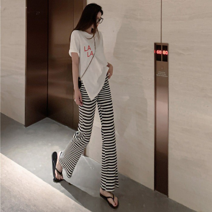 Women S Casual Pants 2020 Spring And Summer New Wild Fashion Vertical Stripes Striped Straight Pants High Waist Flared Pants Trousers Shopee Malaysia