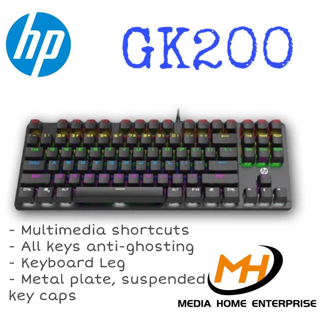 HP Gaming Wired Keyboard GK200 - Quick Response, Suspended Key Caps, Ergonomic Design, Foot Holder
