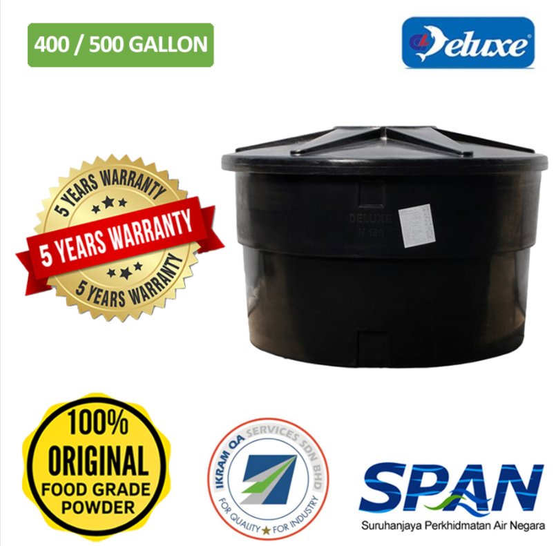 Deluxe Polyethylene Pe Tank Round Type Water Tank (250/300-500/600)Gallons Tangki Air Polietilena (Warranty 5 Years)