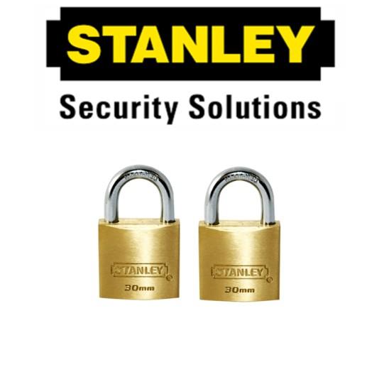 STANLEY STANDARD SHACKLE KEY ALIKE BRASS PADLOCK  S827-405 30MM LOCK