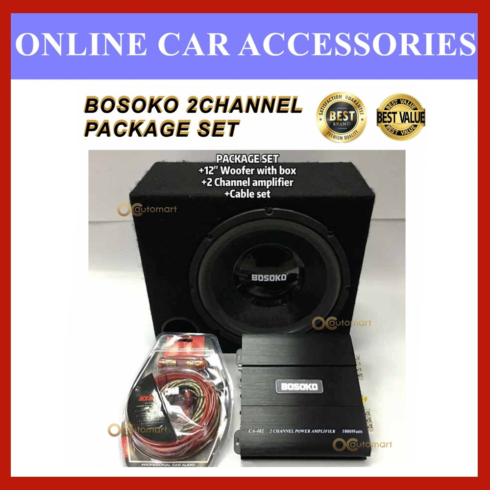 """PACKAGE SET BOSOKO 2-Channel AMPLIFIER 1000 Watts, BOSOKO 12"""" woofer with box 400 watts,Power Cable Wiring Set with FUSE"""