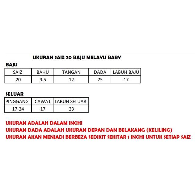 Baju Melayu Baby Saiz 20 (K.18)