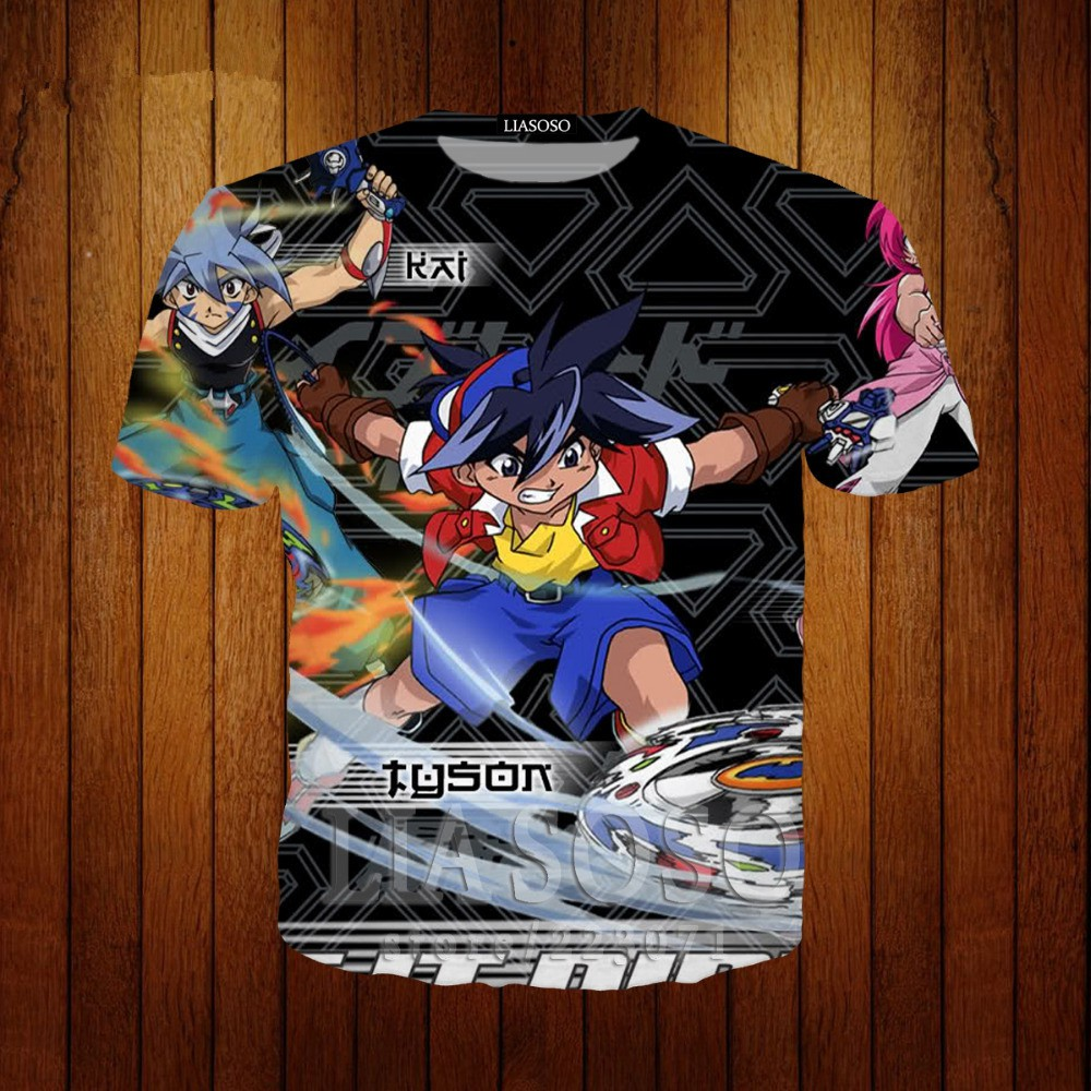 f37741fb22bc3 Funny Summer Anime Beyblade 3D T-Shirt Print Short Sleeve Round Neck Casual  Unisex T-Shirt