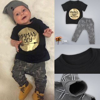 0445a5b2b baju 2PCS New born Kids Baby Boy Girls T-shirt Tops+Pants Outfits ...