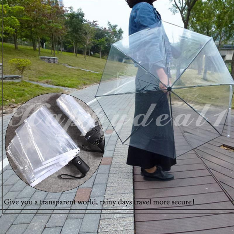 77c1638c5107 ❤HPPY Folding Umbrella Sun Umbrella Transparent Compact Folding Automatic UV
