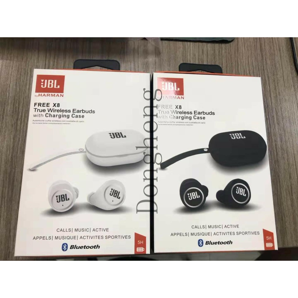 Jbl Free X8 True Wireless Earbuds With Charging Case Sound Bluetooth Black White Shopee Malaysia