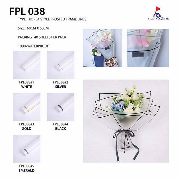 Flower Wrapping Paper Korea Style Frosted Frame Lines Fpl038