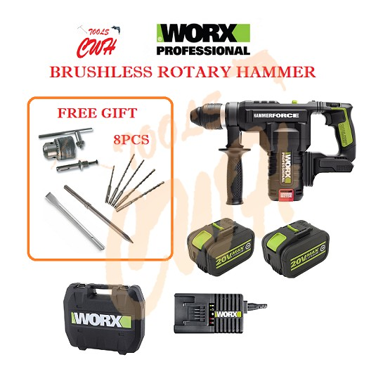 WORX WU399 20V LITHIUM BATTERY 26MM CORDLESS BURSHLESS ROTARY HAMMER DRILL SDS PLUS 5.0J CHIPPING FLAT POINT CHISEL BITS