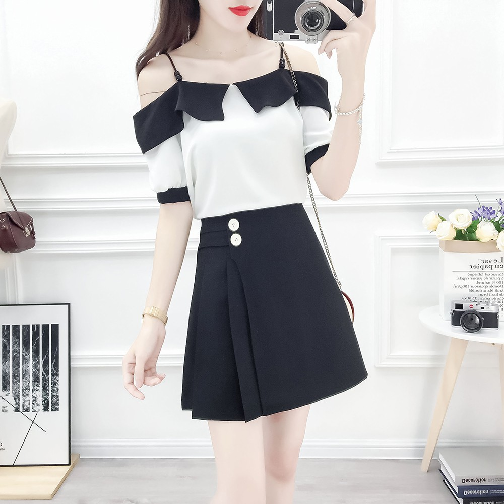 b0dc9dc25 New Pleated Skirt & Top Korean Fashion Suits Summer Chiffon Blouse Skirts  Two-Piece Outfit