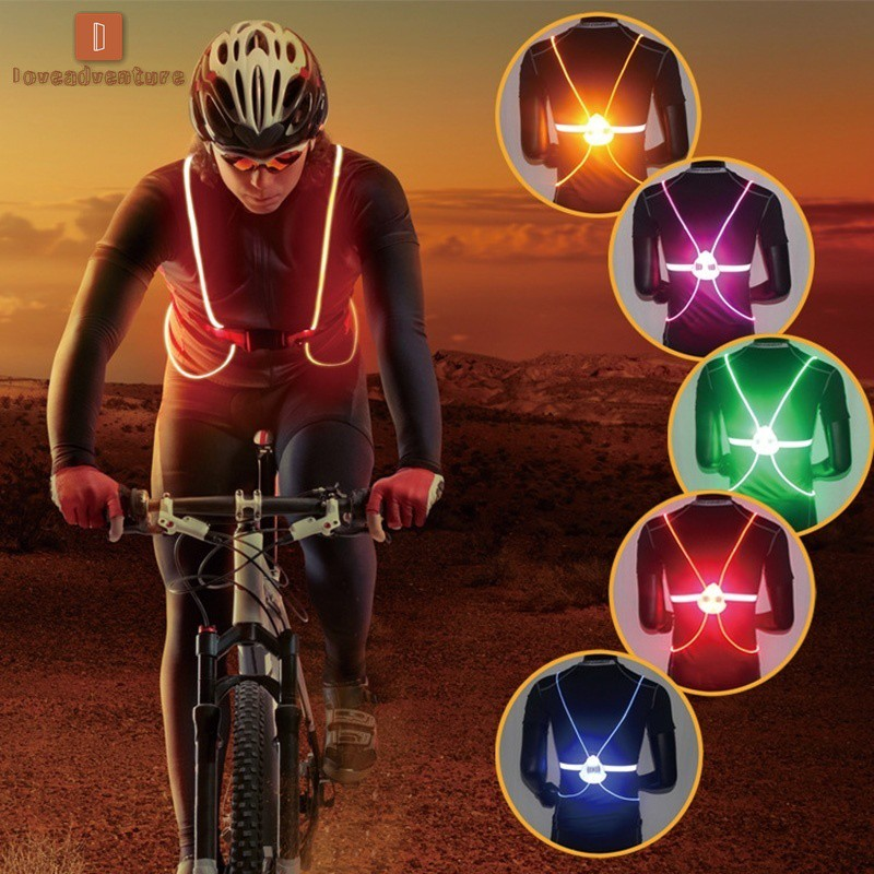 Cycling Unisex Outdoor Cycling Safety Vest Bike Ribbon Bicycle Light Reflecing Elastic Harness For Night Riding Running Jogging Buy Now
