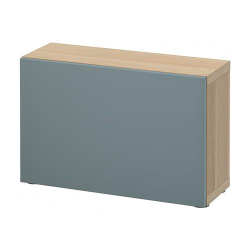Cm Ikea Besta Shelf Unit With Door White Stained Oak Grey Turquoise 60x20x38