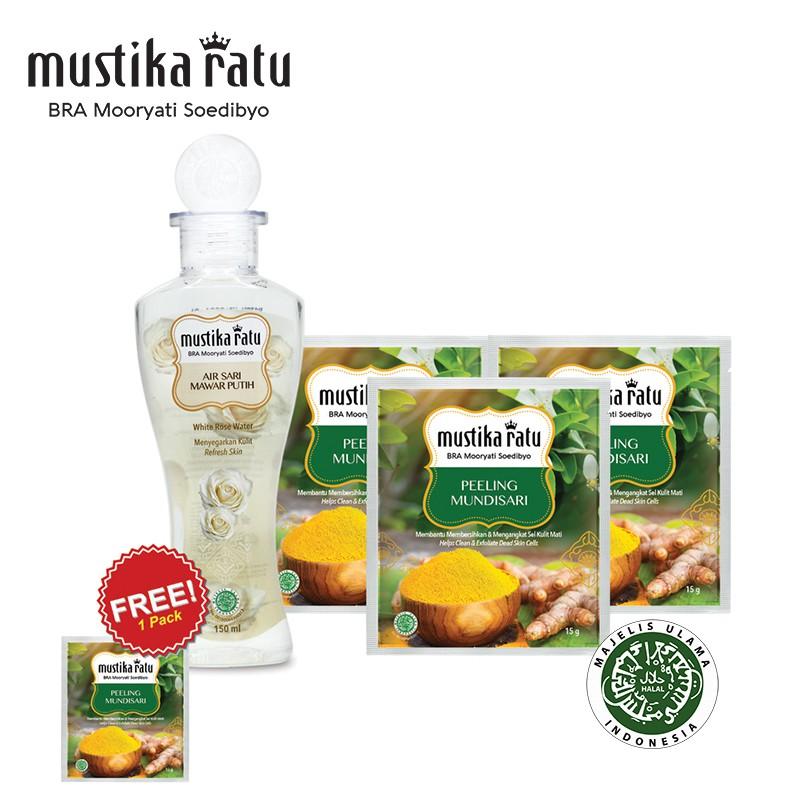 Mustika Ratu Air Sari Mawar Putih + 3 pack Peeling Mundisari (FREE 1 pack)