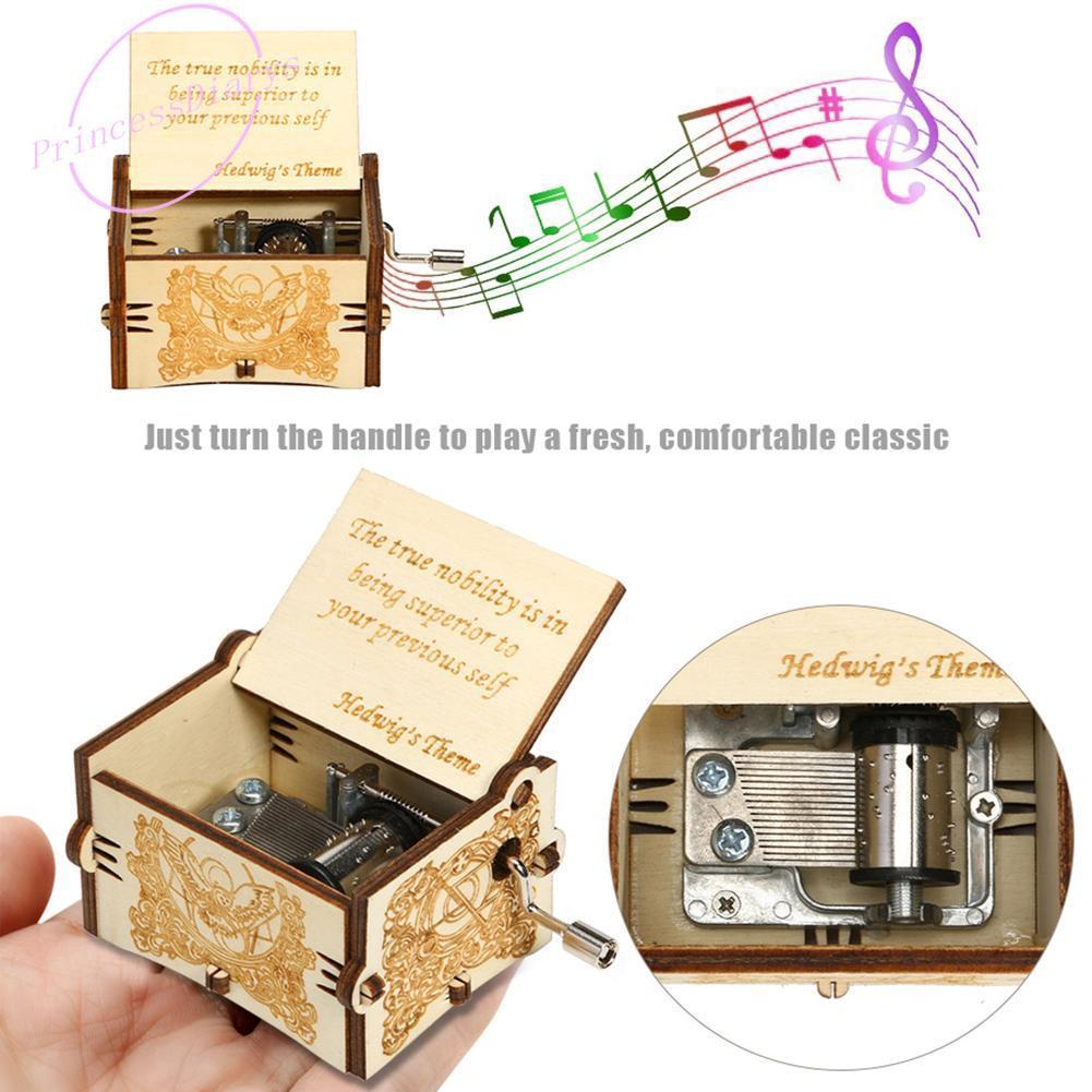 Retro Wooden Music Box Antique Hand Crank Clockwork Music Box Birthday Xmas Gift